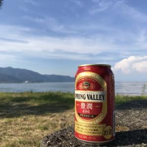 湖岸でビール