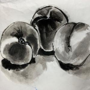 墨で描いた桃