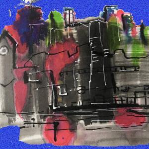 都庁の夜景 赤緑青のネオン