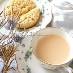 【おうちカフェ向上】時短クランペットとミルクティー