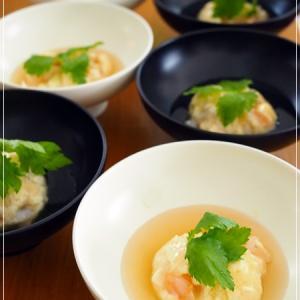 海老と豆腐の茶巾蒸し♪