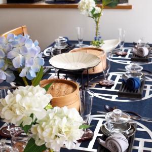 紫陽花とかたつむりのテーブル「台湾料理アンコールレッスン」