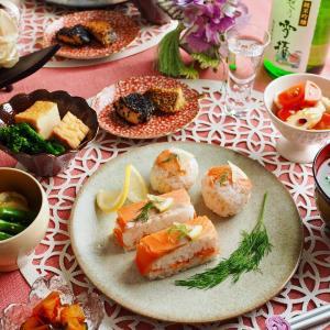 サーモンとレモンの箱寿司と手毬寿司
