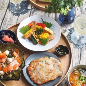 夏野菜の炒めものと大根餅の晩ごはん