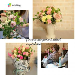 スイトピーとバラ、ラナンキュラスの春の花束~フラワーアレンジメントコース