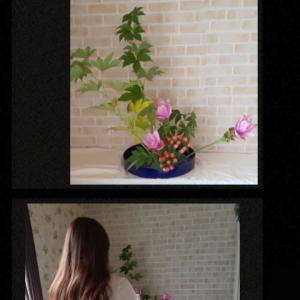 お花が大好きで日本文化のいけばなを楽しく体験レッスンされました