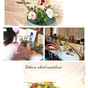 フレッシュなお花で基本のいけばなの形と変化のある敷き花のレッスン