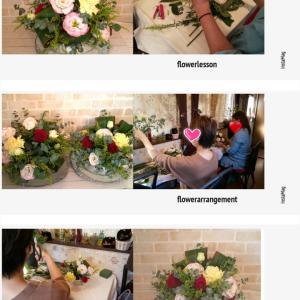 同じ花材でも個性があり雰囲気かわ違うアレンジメントになるフラワーアレンジメントレッスン