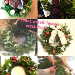 グリーンが香るモミとヒバのグリーンのクリスマスリースレッスン