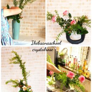 お花の素材やテーマに合わせて作品を作る花時間~草月流いけばなコースレッスン