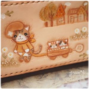 お散歩猫ちゃんの封筒型ポーチ♪
