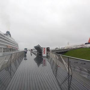 雨の大さん橋で、にっぽん丸と飛鳥Ⅱが相合傘。