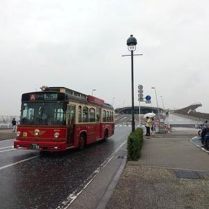 飛鳥Ⅱが出港、そして誰もいなくなった雨の大さん橋。