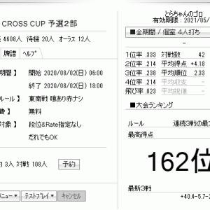 天鳳、「CROSS CUP」予選2部。133で+11.0の暫定162位。今日はやらないつもりだったけど。#天鳳