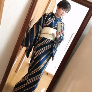 【着画頂きました!!!】gle縞新作着物<仏> 最高です♡