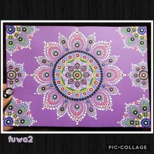 ドットマンダラアート22 お花マンダラ紫