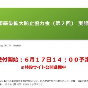 感染拡大防止協力金(第2回)の申請開始、本日から