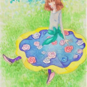 バラの花柄スカートの女の子☆