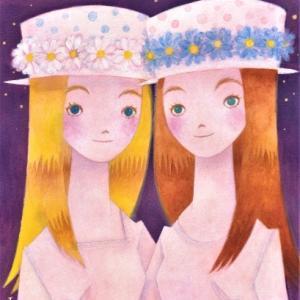 双子の女の子☆色違いのデイジーの帽子