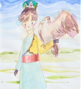 中央アジアの草原☆鷹と男の子