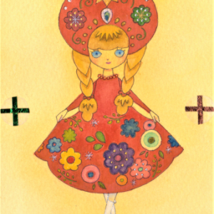 赤いドレスの女の子☆ロシア風刺繍のスカート