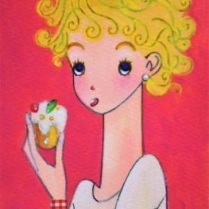 クルクル巻き毛の女の子☆ケーキをパクパク