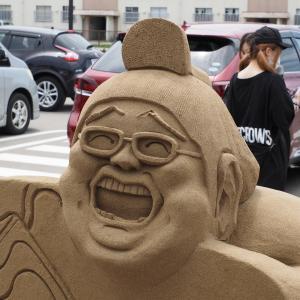 千里浜砂像「巨大なサンドアート」