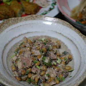 水煮鯖缶は納豆で
