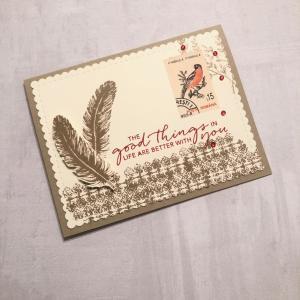 レトロコラージュデザインのカード