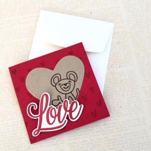 ハートくまのミニカード with LOVE