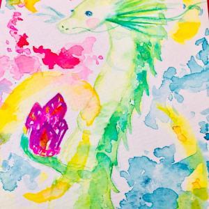 龍と紫のクラスター(水彩)