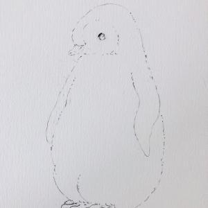 虹色ペンギン  途中の絵