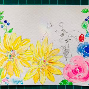制作中の絵 お花とくまのおやこ