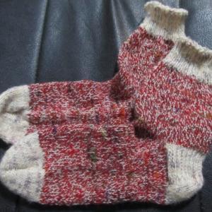 手編みの靴下139足目、完成。 ハンドメイド・ニット・ソックス、編み物。