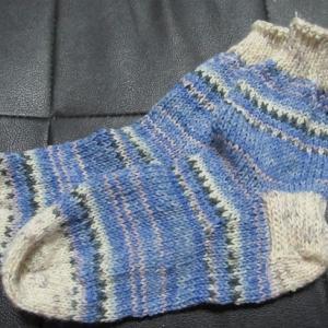 手編みの靴下127足目、完成。 ハンドメイド・ニット・ソックス、編み物。
