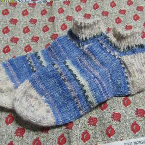 手編みの靴下128足目、完成。 ハンドメイド・ニット・ソックス、編み物。