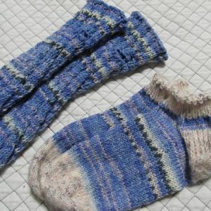 手編みの靴下129足目、完成。 ハンドメイド・ニット・ソックス、編み物。