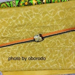 9月ごろの着物☆紫の紬に帯と帯揚げは黄色と緑を!