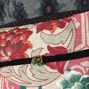 9月の着物。2枚目。ピンクの絽の帯がお気に入り