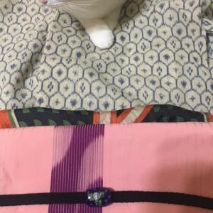 9月の着物 傷んだ着物は付け帯に作り直して貰いました