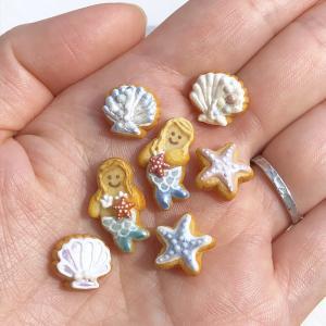 夏のアイシングクッキー マーメイド、貝殻、ヒトデ