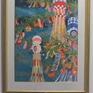 廊下の絵を夏の七夕の絵に変えました。