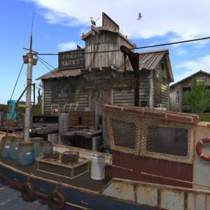 漁船とシーフードマーケット