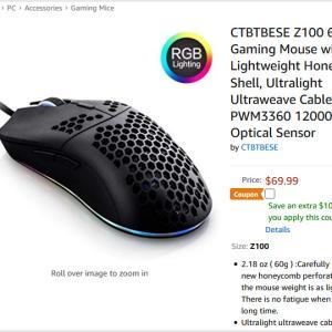 Model Oクローン?米Amazonで売られていた軽量ゲーミングマウス『CTBTBESE Z100』