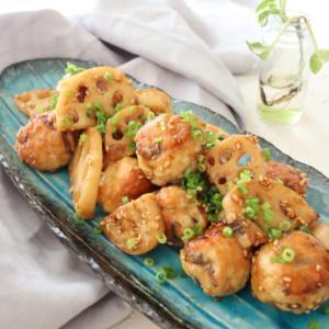 (おかずレシピ)れんこんと鶏団子の甘辛