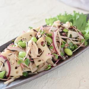 (レシピ)レンコンひじきサラダとサバの中華マリネ