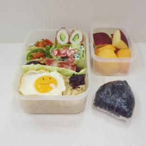 10/12ニコちゃん弁当、煮込みハンバーグとヴァイツェンブロート、チーズinかまぼこペッパー味
