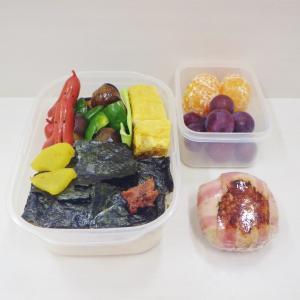 11/9タコさんウィンナー入りのり弁、煮込みハンバーグとパン2種、木村屋總本店 かぼちゃあんぱん