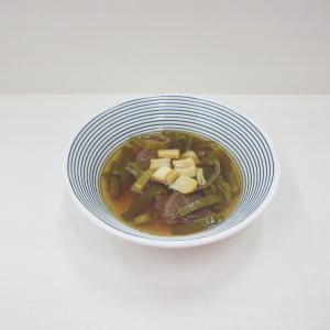 12/6干し貝柱のスープ、リメイク里芋コロッケ、牛肉カレー、ヤマダイ 名代富士そば紅生姜天そば