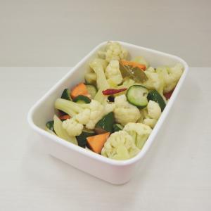 4/3ピクルス、大根かに缶サラダ、鯖粕漬、茄子と大葉味噌炒め、柑橘蜂蜜漬け、低糖質ペペロンチーノ